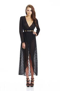 Black Jagger Sheer Wrap Maxi : Buy Designer Dresses Online at Nookie