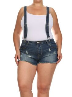 Plus Size Out And About Distressed Denim Overalls