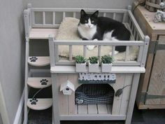 54 outdoor animal room design ideas that look cute - Cats and Dogs House Cat Bunk Beds, Pet Beds, Cool Cat Beds, Animal Room, Diy Pour Chien, Cat House Diy, Diy Cat Tree, Cat Playground, Photo Chat