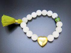 White Jade Canadian Jade and Green Tassel by ZardeniaJewelry