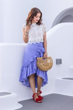 Chicwish lace top and blue ruffle skirt, red suede tassel fringe sandals