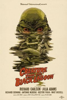 I think this Mondo poster for the 'Creature From The Black Lagoon' by Francesco Francavilla is probably a little too good. Like if I watched the actual film, just based on this incredible poster, I'd be fucking furious. Horror Movie Posters, Old Movie Posters, Movie Poster Art, Poster S, Art Posters, Illustrations Posters, Scary Movies, Old Movies, Vintage Movies