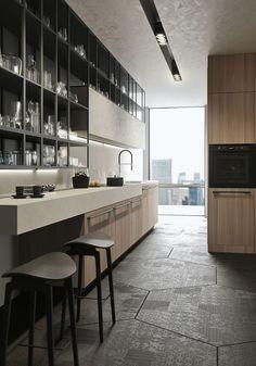 Cuisine contemporaine / en bois - OPERA by Michele Marcon - SNAIDERO
