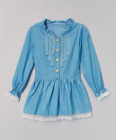 Denim Chambray Ruffle-Front Dress - Toddler #zulily #zulilyfinds