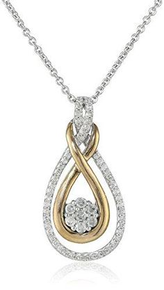 Diamonds sparkle within the twists and turns of this metallic pendant necklace. This pendant is supported beneath an included 18-inch rolo chain. The total diamond carat weight listed is approximate. Variances may be up to .03 carats. All our diamond suppliers confirm that they comply with the Kimberley Process to ensure that their diamonds are conflict free. Imported