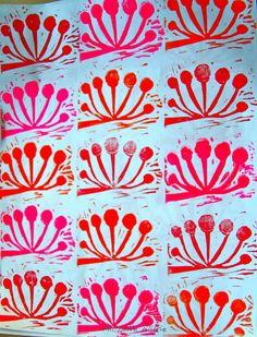 My Pohutukawa block print @ Lotta Jansdotter's Surface Printing workshop Pattern Images, Botanical Drawings, Surface, Workshop, Tropical, Print Ideas, Kiwi, Creative, Prints