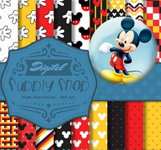 18 Mickey Mouse Digital Papers + FREE bonus ClipArt! Great for invitations, decorations, scrapbooking, and any other arts and crafts!         January 10, 2016 at 01:39AM
