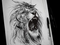 Miniature lion dessin tatouage simple tete de lion petit tatouage lion joli dessin