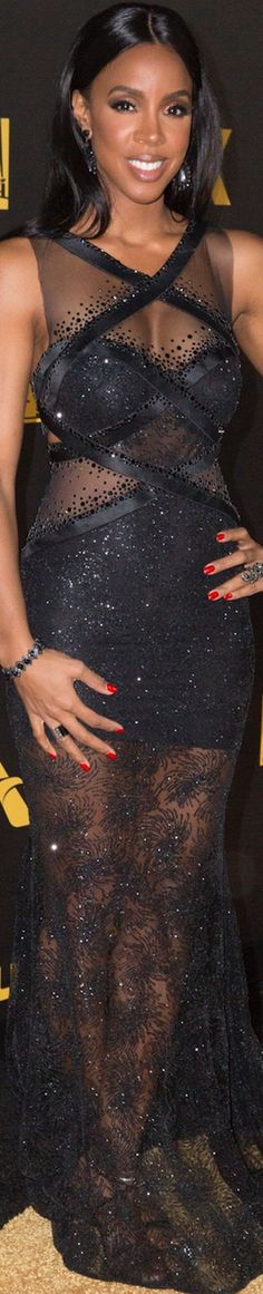 Kelly Rowland in Charbel Zoe at the Golden Globe After Party