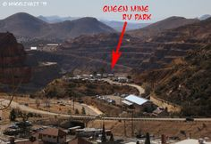 """""""Aerial"""" view of the park from a hill in Bisbee. See the circle with the sites? Queen mine is in the back."""
