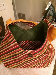 Iridescent Colored Fabric Phoebe Purse!! Medium size!! Natural Autumn Colored Stripes/ Multi-Colored Stripes/Warm Fall Colors by BN2Mate on Etsy