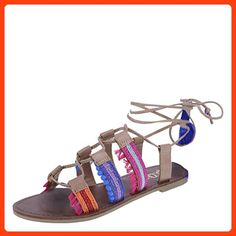 96a79a71ef6 Brash Women s Multi Women s Rio Leg Wrap Flat 6 Regular Cute Sandals