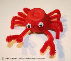 A classic crab made from an egg Carton, red paint, googly eyes, and red fuzzy pipes (I'm blanking on what their called.)