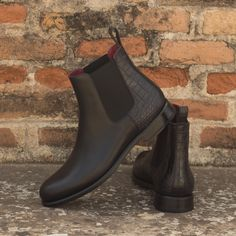 Handcrafted Custom Made Women's Chelsea Boot in Black Croco Embossed and Black Painted Calf Leather From Robert August. Create your own custom designed shoes. Custom Made Shoes, Custom Design Shoes, Black Chelsea Boots, Black Boots, Slip On Boots, Women's Boots, Calf Leather, Designer Shoes, Men's Shoes