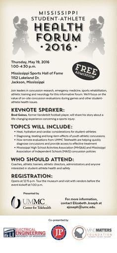 University of Mississippi Medical Center - Center for Telehealth - Mississippi Student-Athlete Health Forum 2016 E-vite