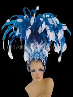 Carnival Headdress, Rio Carnival, Feather Headdress, White Feathers, Showgirls, Samba, Dance Wear, Party Dress, Blue And White