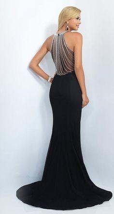 Black Mermaid Crystal Beading Crew Neck Her Prom Dress – HisandHerFashion.com