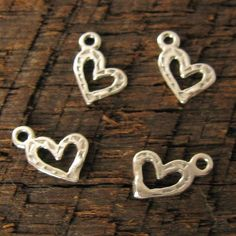 Sterling Silver Heart Charms  10 Teeny Tiny by OakhillSilverSupply