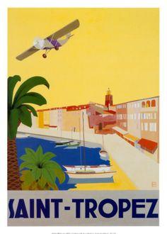 Vintage travel poster of Saint Tropez, French Riviera Retro Poster, Vintage Art Prints, Vintage Travel Posters, Vintage Postcards, Framed Art Prints, Poster Prints, Travel Ads, Travel And Tourism, Travel Photos