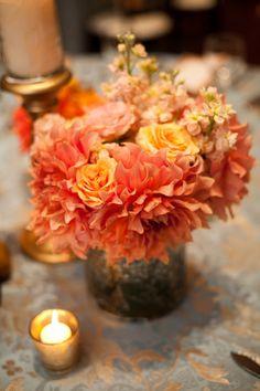 Peach/Persimmon/Coral Centerpiece Inspiration.