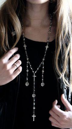 Rosary Necklace Long rosary cross skull men unisex от ShopSparrow