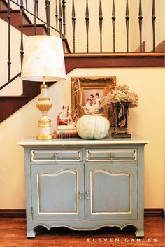 Blogger Stylin' Home Tours | Fall Home Tour  I like the way this cabinet is painted.  e