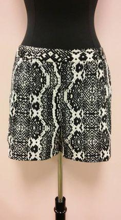 *NEW* Black and White Snake Animal Print Short Shorts Ann Taylor LOFT Sz 12 NWT #AnnTaylorLOFT #MiniShortShorts