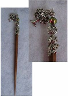 Silver Celtic Tree of Life Charm Wooden Hair Stick New Shawl Pin Accessories