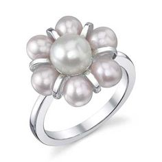 4.0 - 6.0mm Pink and White Cultured Freshwater Pearl Ring in Sterling Silver