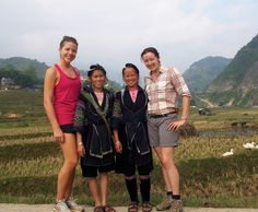 Miriam, Mai (our homestay host), Chi (our tour guide) and Kat #socent #vietnam