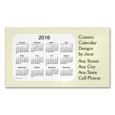 2016 Pale Goldenrod Business Calendar by Janz Magnetic Business Cards (Pack Of 25)