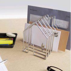 ACHICA | Invotis Orange Wirehouse Envelope Holder, Chrome