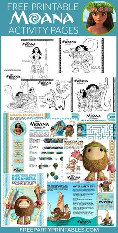 FREE Printable MOANA Party Activity and Coloring Pages! Great for parties!