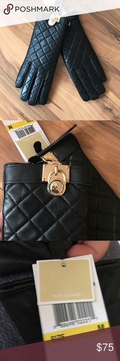 Black Quilted Michael Kors Tech Gloves Gold detailing , brand new w/ tags Michael Kors Accessories Gloves & Mittens
