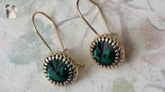Emerald Green Swarovski Crystal Earrings Emerald and Gold Dangle Earrings - Wedding earings (*Amazon Partner-Link)