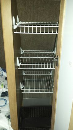 Brilliant Rv Clothes Storage Rv Closet Storage Wire Shelves With Command Hooks C… Brilliant Rv Kleidung Lagerung Rv Closet Storage Wire Regale Mit Befehlshaken Camping Trailer Storage, Camper Storage, Storage Ideas For Campers, Checklist Camping, Camping Ideas, Camping Outdoors, Camping Essentials, Camping Packing, Camping Guide