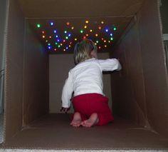 Cardboard box + Christmas lights = Cave of stars. This site is super crafty! Cardboard box + Christmas lights = Cave of stars. This site is super crafty! Cardboard box + Christmas lights = Cave of stars. This site is super crafty! Craft Activities For Kids, Toddler Activities, Projects For Kids, Crafts For Kids, Winter Activities, Toddler Fun, Sun Crafts, Space Activities, Craft Ideas