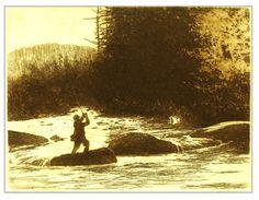 The Beaverkill, fishing etching by Brett J Smith www.brettsmith.com