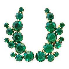 Century Pair of Gold Plate & Emerald Austrian Crystal Earrings Vintage Costume Jewelry, Vintage Costumes, Vintage Jewelry, Summer Calendar, Vintage Picnic Basket, Vintage Picture Frames, Vintage Vases, Printed Linen