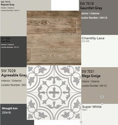 This looks like the flooring we want and I love the colors – Diy Bathroom Remodel İdeas Interior Paint Colors, Paint Colors For Home, Gray Paint Colors, House Color Schemes Interior, Basement Paint Colors, Mood Board Interior, Interior Design Boards, Best Greige Paint Color, Basement Color Schemes