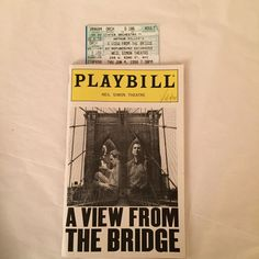 A View From The Bridge Playbill Anthony LaPaglia Allison Janney Robert LuPone Neil Simon Theatre, Anthony Lapaglia, Allison Janney, Musicals, Broadway, Bridge, Orchestra, Legs, Bro
