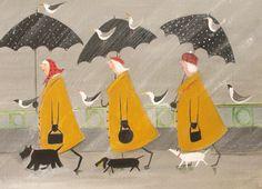 'Elegant Ladies Walking' by Jennifer Verny-Franks. Blank Art Cards by Green Pebble. www.greenpebble.co.uk