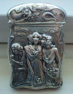 Antique Sterling Silver Art Nouveau Gilbert Match Safe Matchsafe Vesta Case…