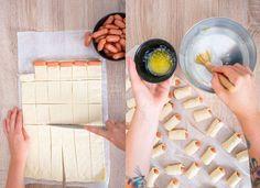 Párky vtěstíčku sdomácím sýrovým dipem - Proženy Mini Four, Dip, Cooking Recipes, Snacks, Pizza, Decor, Style, Swag, Salsa