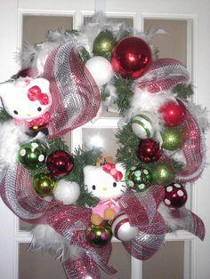 Hello Kitty hoilday wreath Hello Kitty Christmas, Christmas Diy, Christmas Wreaths, Christmas Decorations, Diy Wreath, Ornament Wreath, Mesh Wreaths, Ornaments, Little Girl Rooms