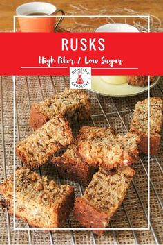 Healthy Rusks Recipe – Low sugar & high fiber – Domestic Goddesses Traditionally South African rusks are full of sugar and fat. To turn them into the perfect breakfast snack I came up with a delicious healthy rusks recipe. Low Sugar Recipes, No Sugar Foods, Gourmet Recipes, Cooking Recipes, Bread Recipes, Breakfast Snacks, Healthy Breakfast Recipes, Kos, Buttermilk Rusks