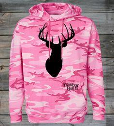 Women's Country Girl ® Deer Head Pink Camo Hoodie