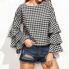 ea2846fdf7e1c Ruhiku GW Fashion Women s Bell Sleeve Loose Polka Plaid Shirt Ladies Casual  Plaid Blouse Tops (