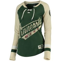 Majestic Minnesota Wild Women's Green Vintage Hip Check Lacer Long Sleeve T-Shirt #wild #mnwild #nhl