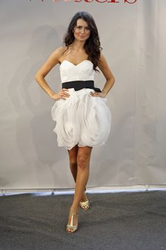 White and black bridesmaid dress with ruffles/ flowers